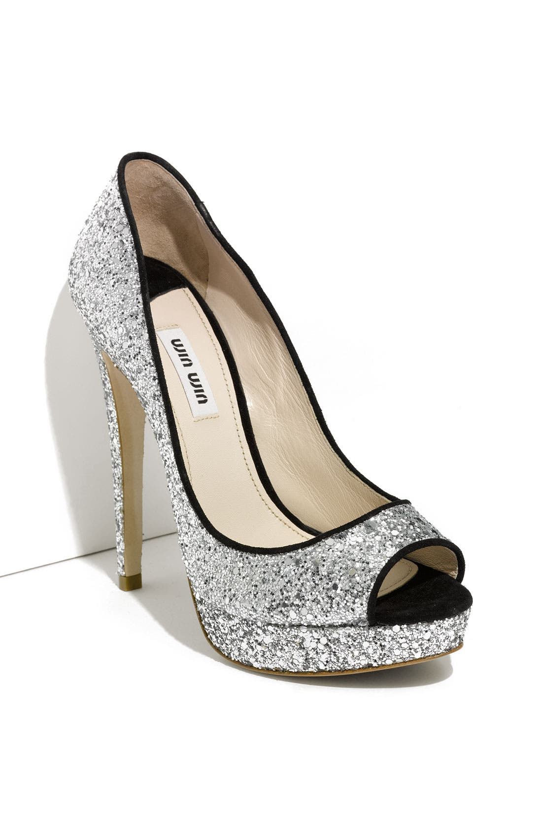 Alternate Image 1 Selected - Miu Miu Glitter Open Toe Platform Pump