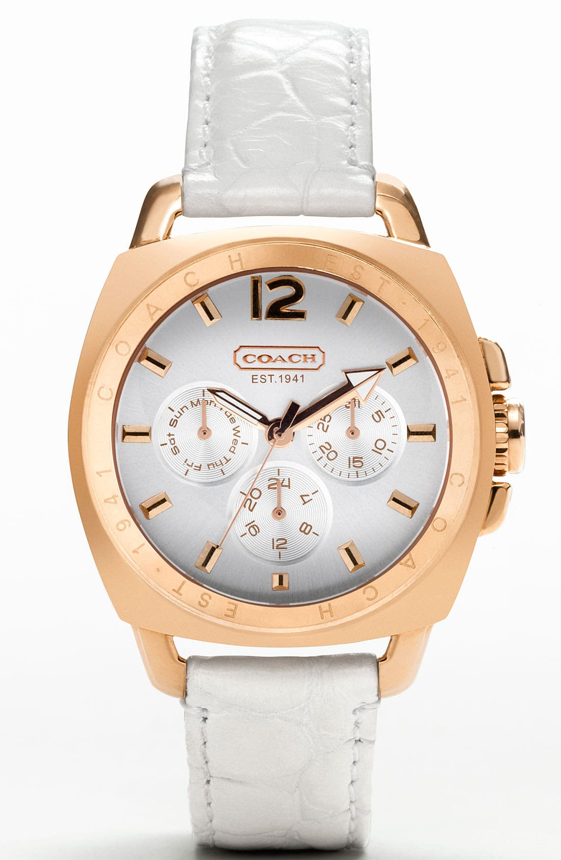 Alternate Image 1 Selected - COACH 'Boyfriend' Patent Leather Strap Watch