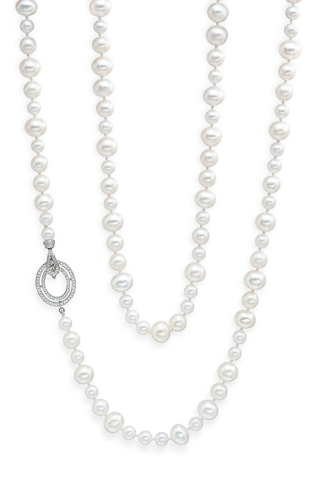 Main Image - Ivanka Trump Long Freshwater Pearl & Diamond Clasp Necklace