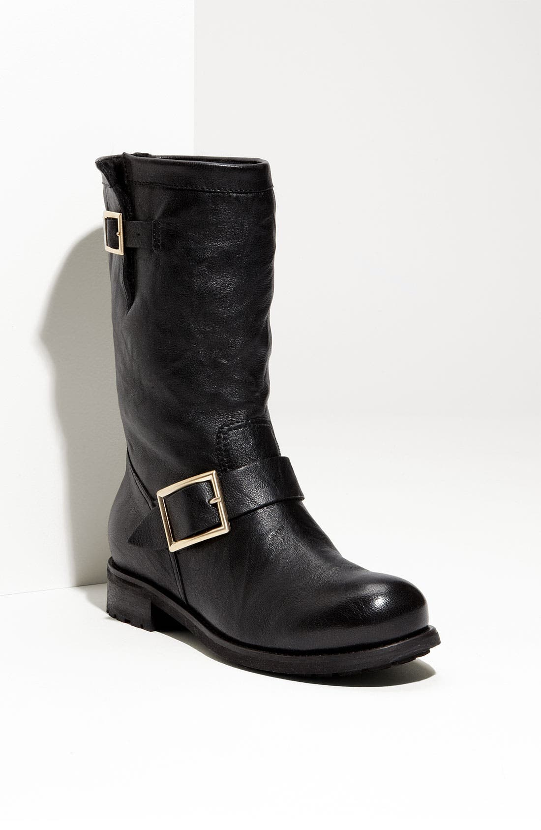 Main Image - Jimmy Choo Rabbit Fur & Leather Biker Boot