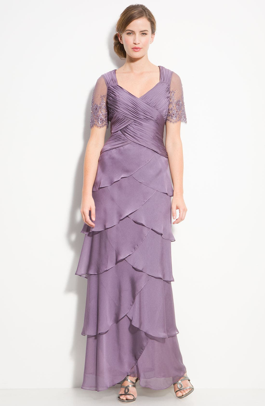 Alternate Image 1 Selected - Adrianna Papell Lace Sleeve Tiered Chiffon Gown