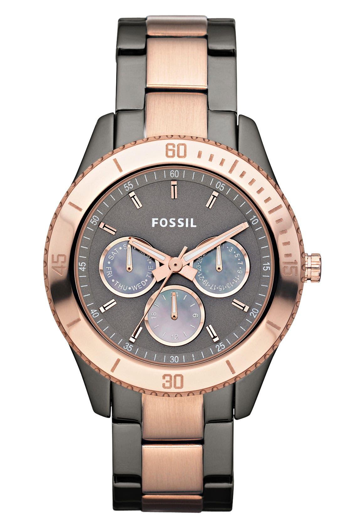 Main Image - Fossil 'Stella' Two Tone Bracelet Watch, 37mm