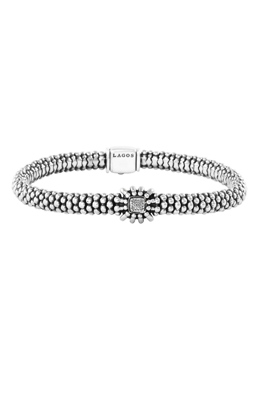 Alternate Image 1 Selected - LAGOS 'Prêt-à-Porter - Daisy' Diamond Caviar Rope Bracelet