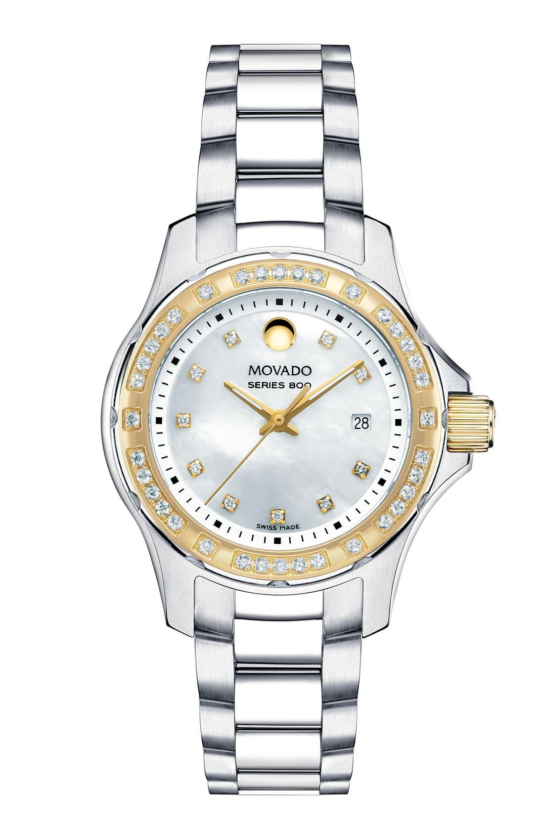 Alternate Image 1 Selected - Movado 'Series 800' Two Tone Diamond Bracelet Watch, 29mm