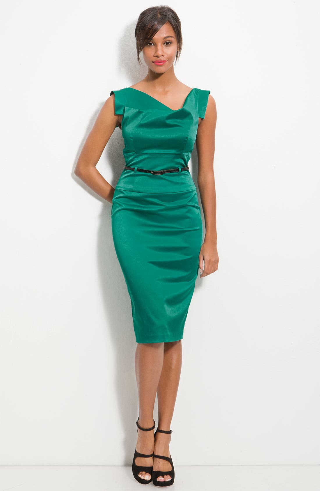 Main Image - Black Halo Belted Stretch Satin Sheath Dress