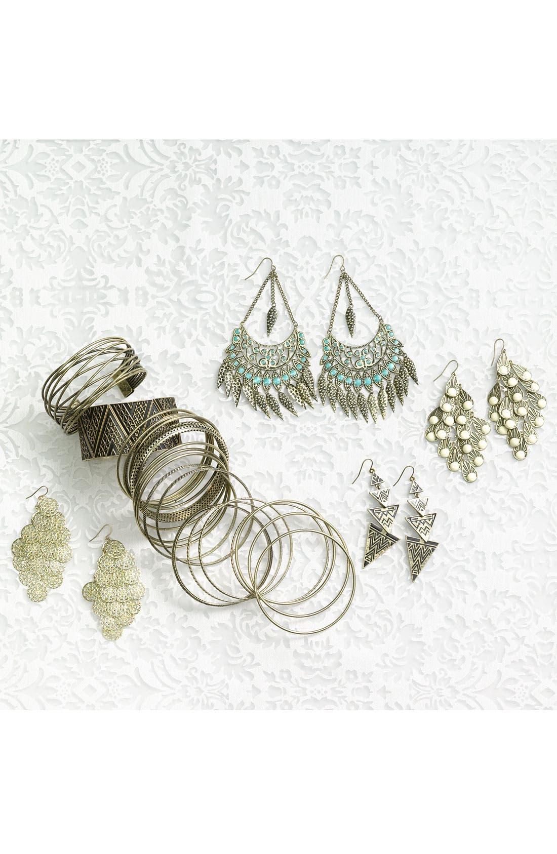 Alternate Image 2  - Stephan & Co. Feather Fan Chandelier Earrings