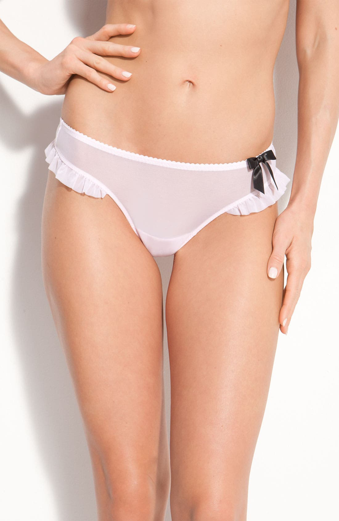 Main Image - Betsey Johnson Ruffle Mesh Thong (3 for $27)