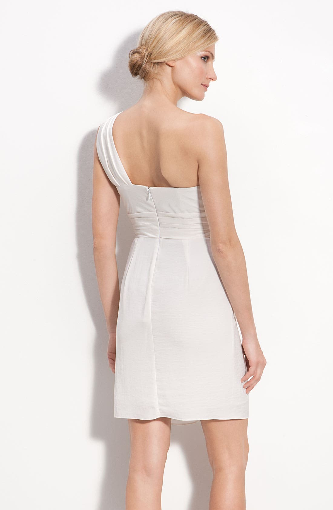 Alternate Image 4  - BCBGMAXAZRIA Drape Front One-Shoulder Satin Dress