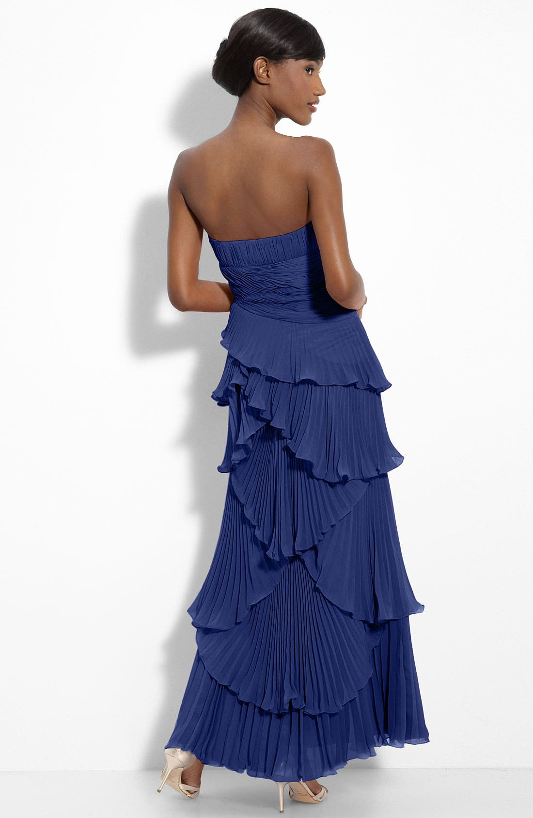Alternate Image 2  - Dalia MacPhee Tiered Pleat Chiffon Gown