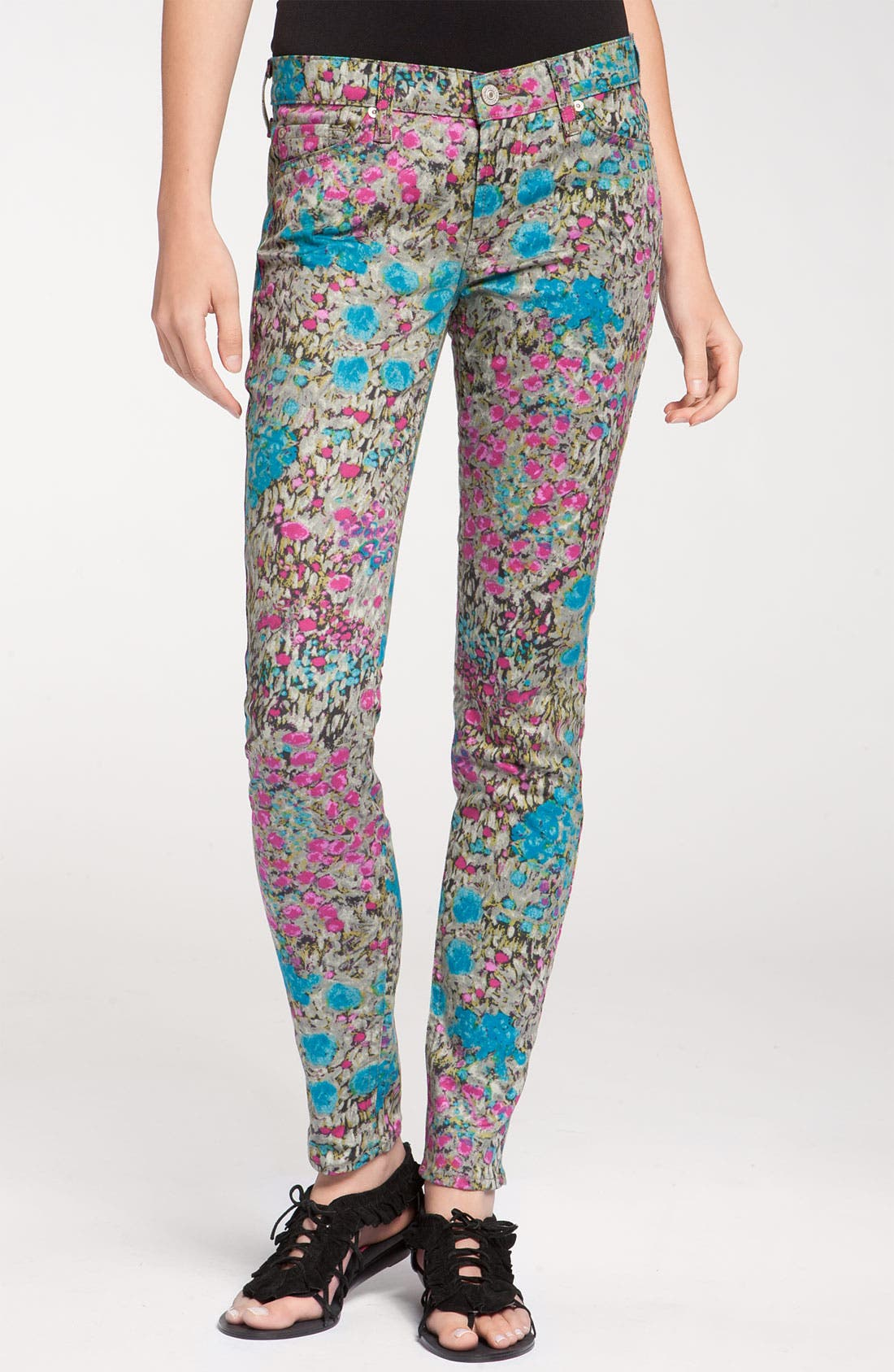 Alternate Image 2  - 7 For All Mankind® 'The Skinny' Print Jeans (Garden Party Floral)