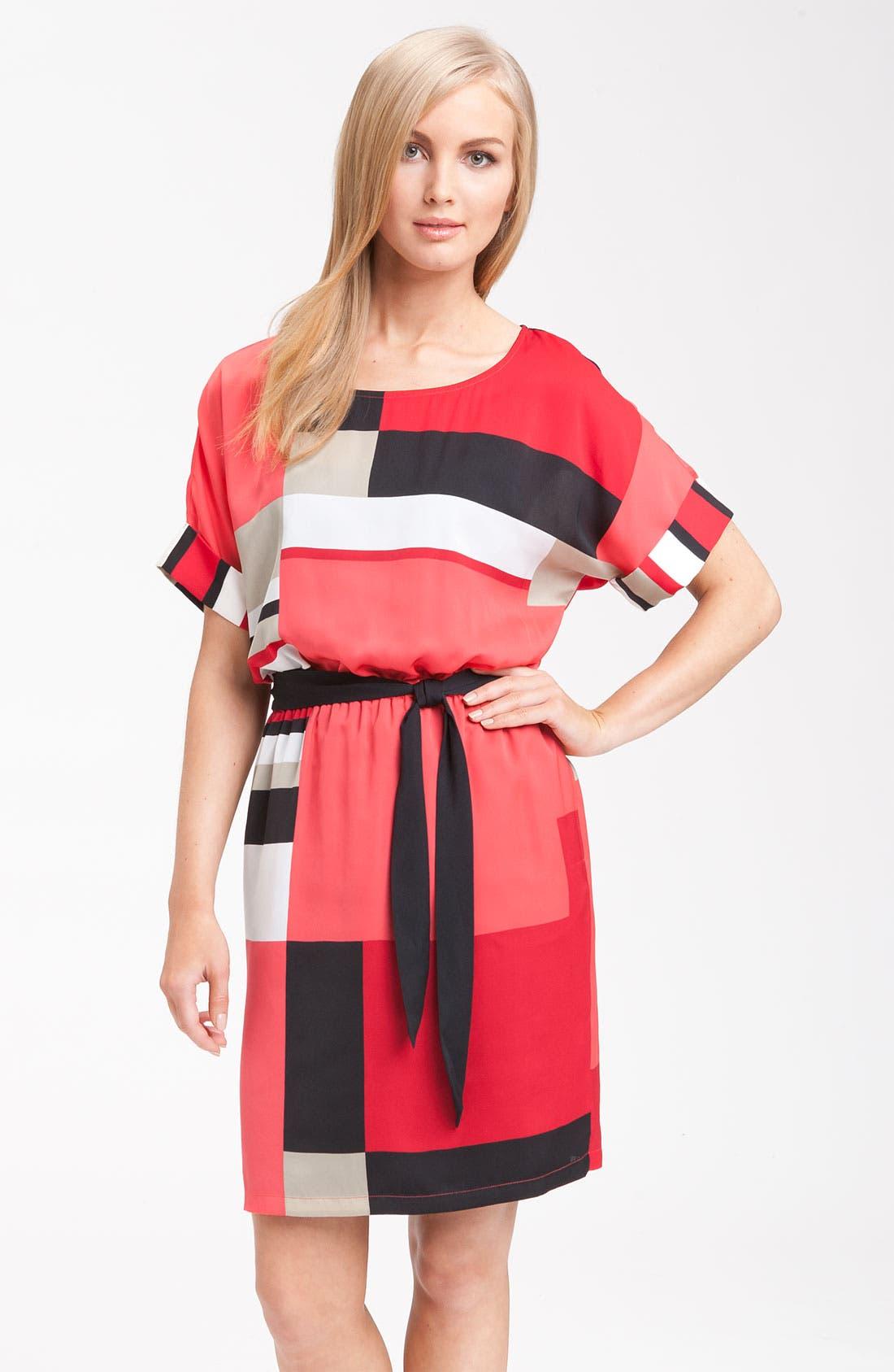 Alternate Image 1 Selected - DKNYC Short Sleeve Geometric Print Dress