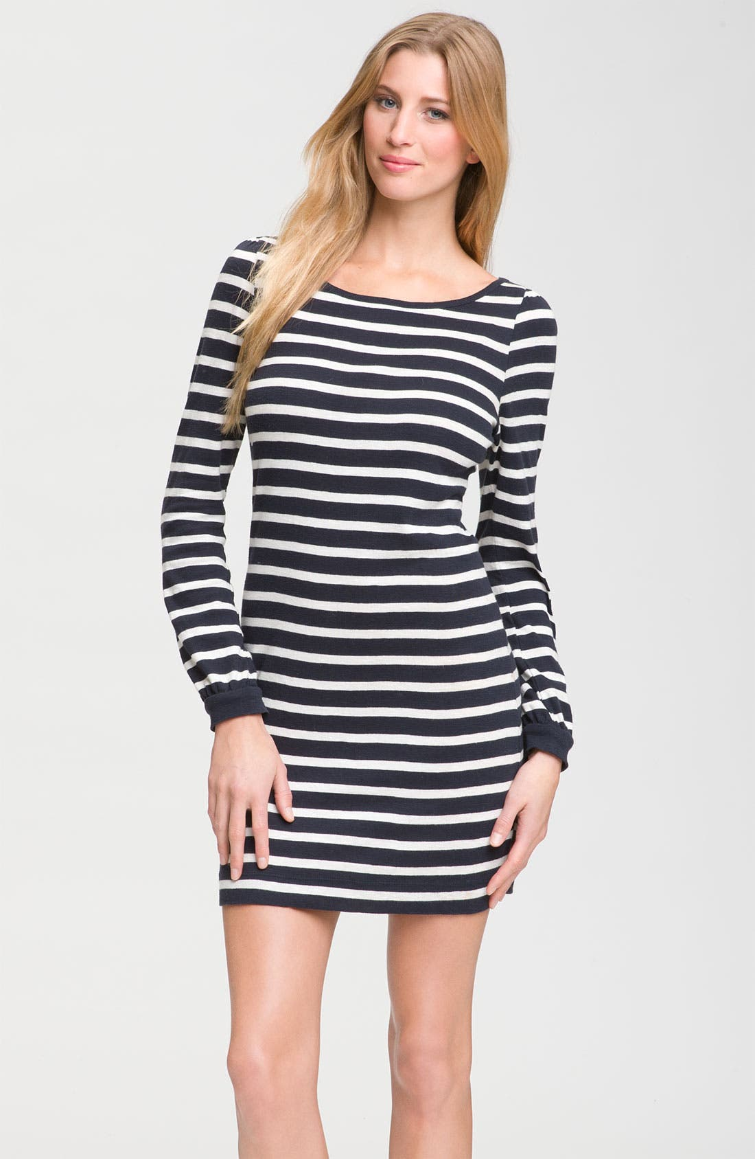 Alternate Image 1 Selected - French Connection Long Sleeve Striped Knit Dress