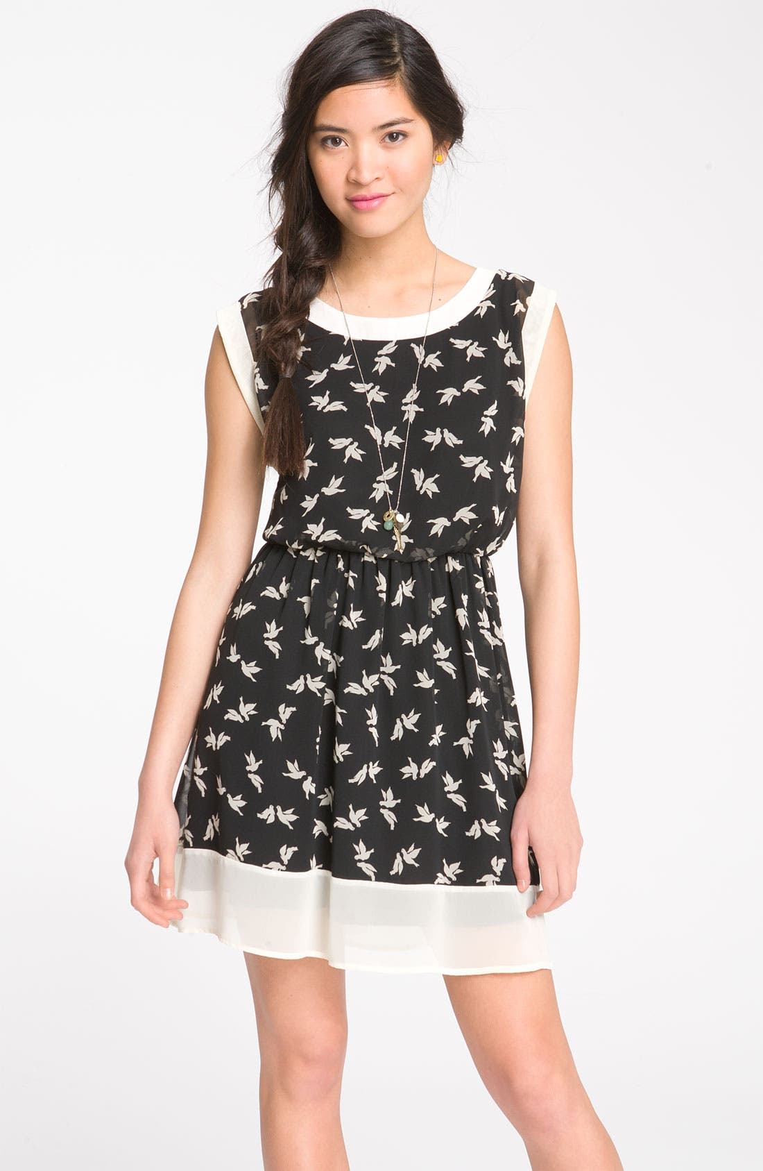 Alternate Image 1 Selected - Lush Print Chiffon Frame Dress (Juniors)