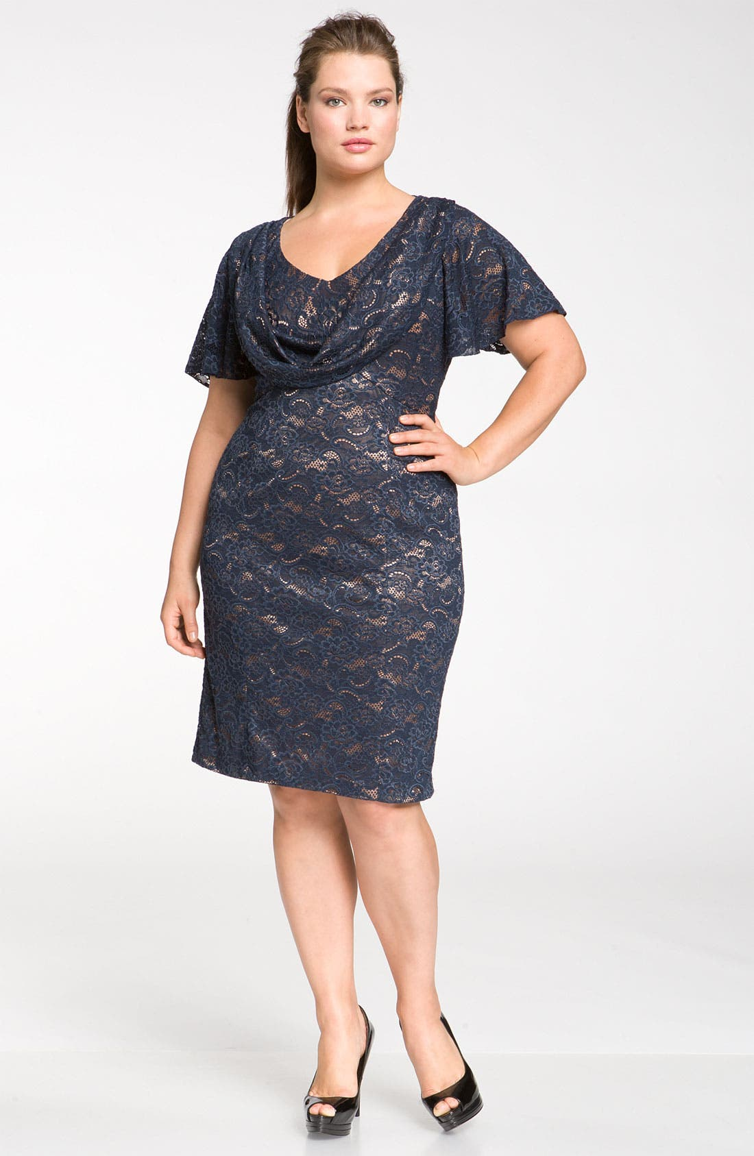 Main Image - JS Collections Drape Neck Lace Sheath Dress (Plus)