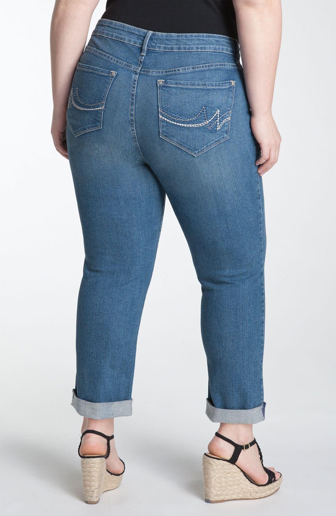 Main Image - NYDJ 'Boyfriend' Cuff Crop Jeans (Plus)