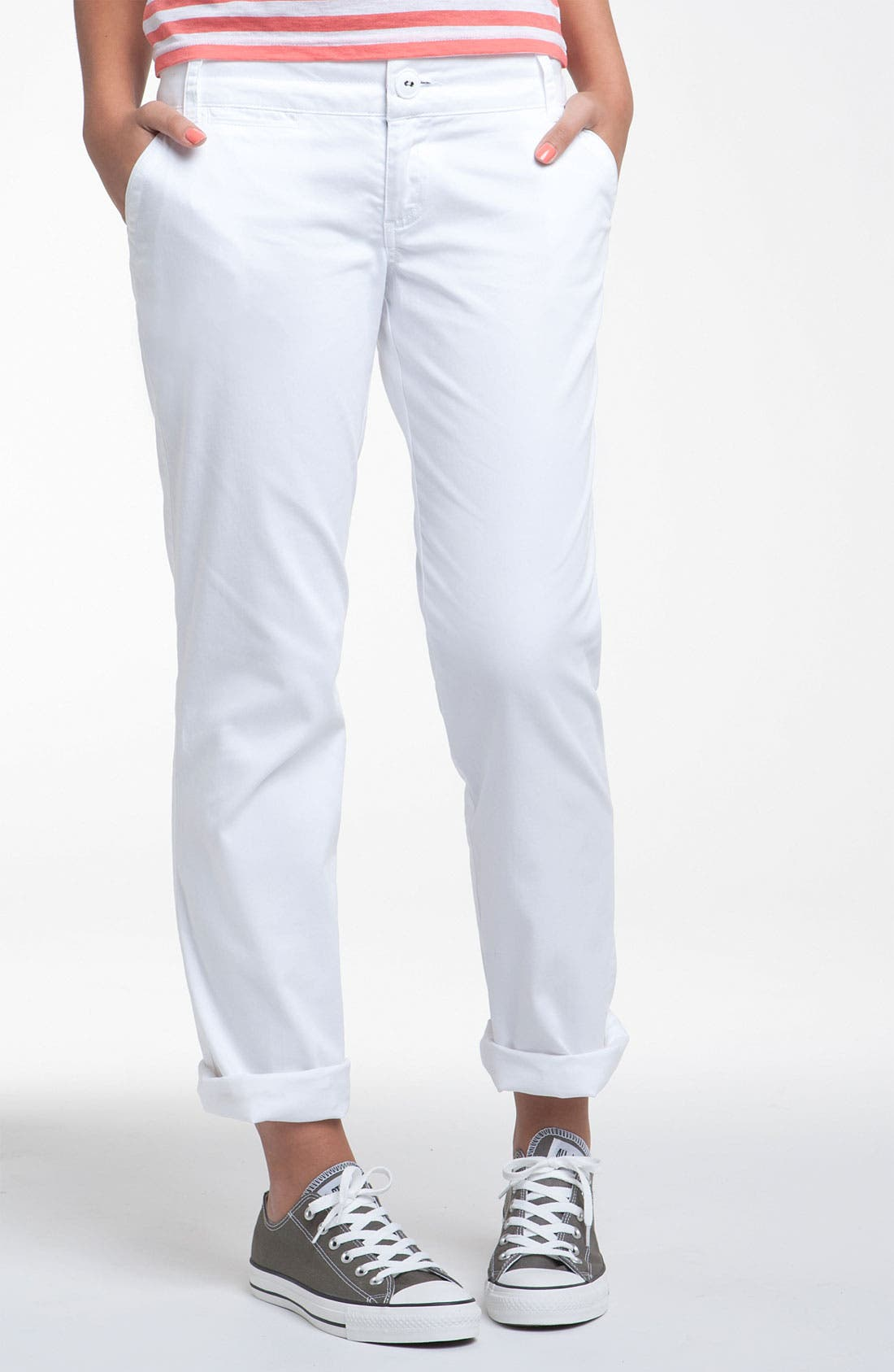 Alternate Image 1 Selected - Jolt Roll Cuff Classic Chinos (Juniors)