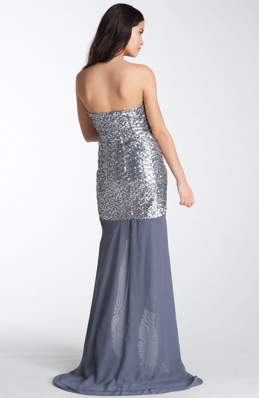 Alternate Image 2  - Way-In Strapless Sequin Chiffon Trane Gown (Juniors)
