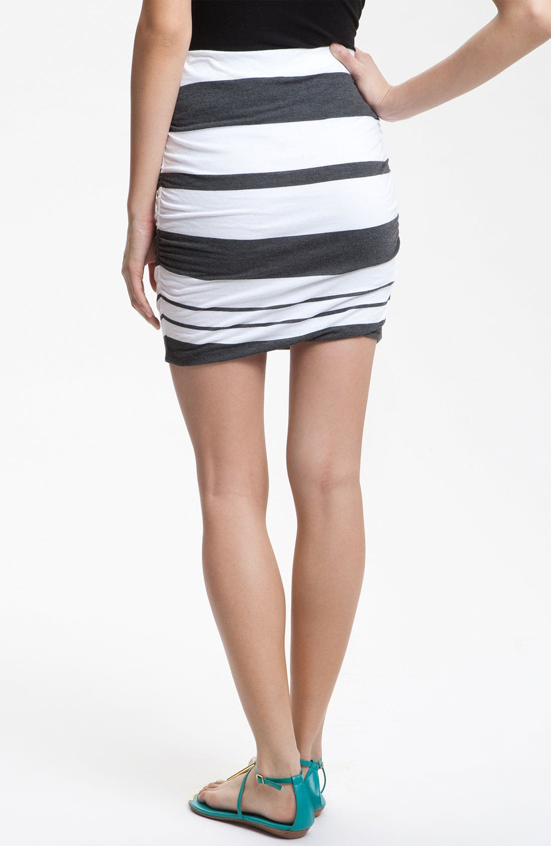 Alternate Image 2  - James Perse Ruched Stripe Miniskirt
