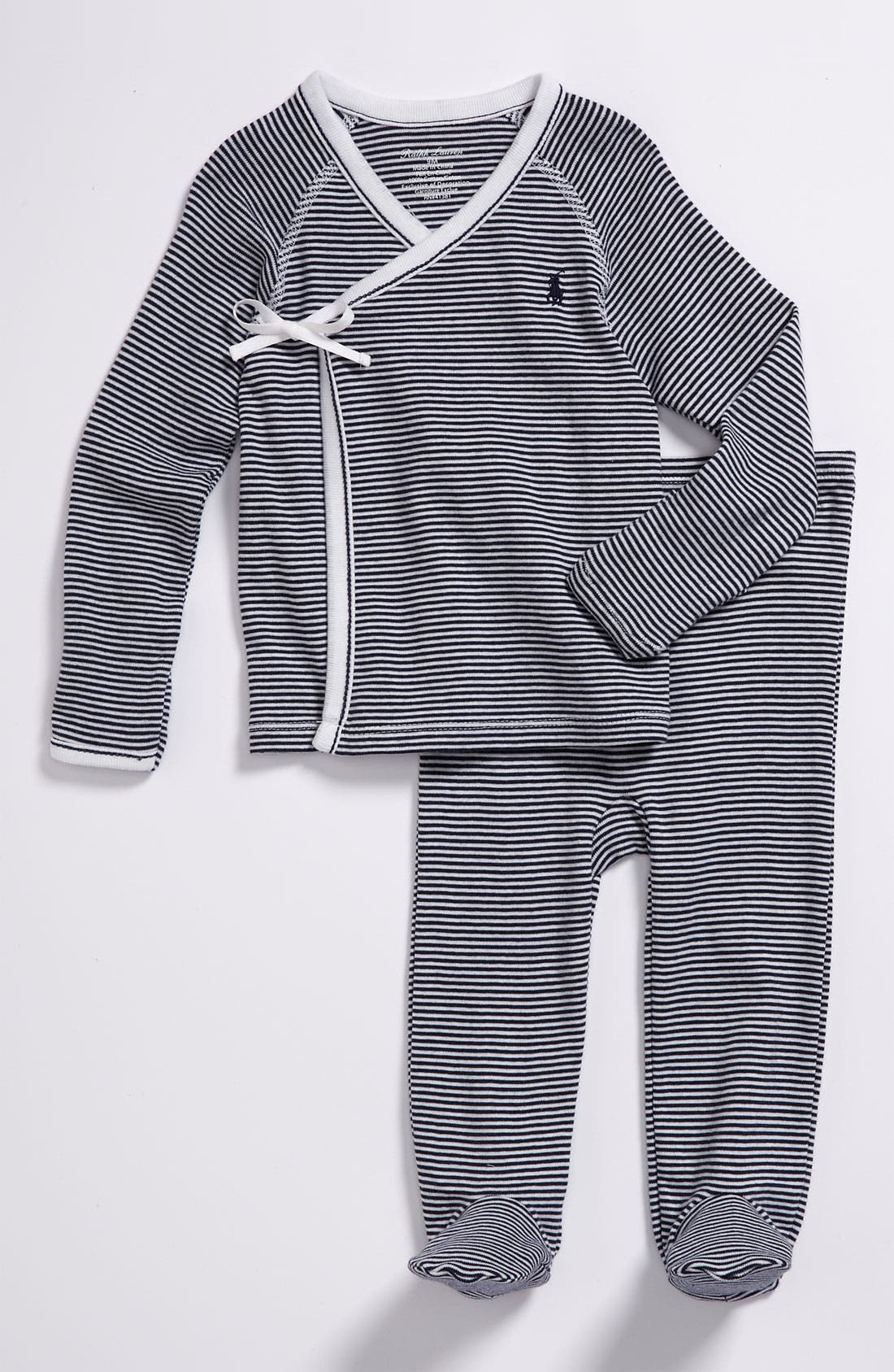 Alternate Image 1 Selected - Ralph Lauren Stripe Kimono Two-Piece Set (Baby)