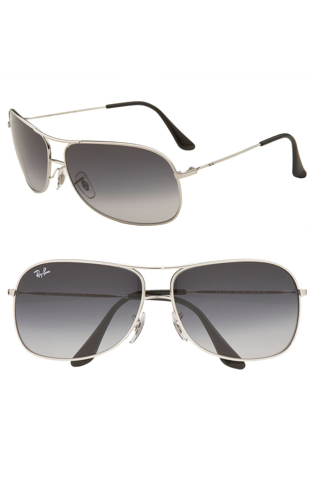 Alternate Image 1 Selected - Ray-Ban Square 64mm Wrap Aviator Sunglasses