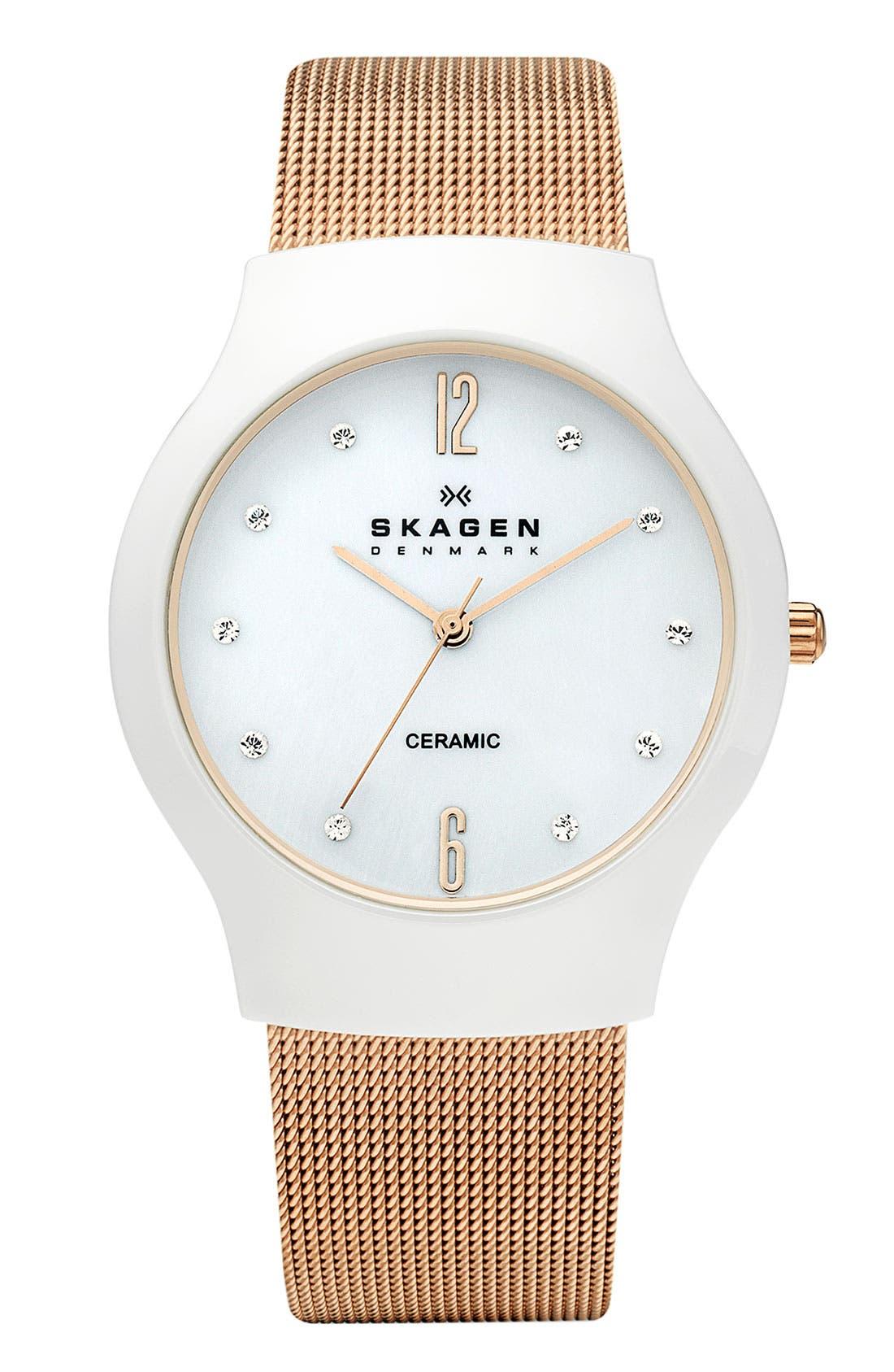 Main Image - Skagen Ceramic Mesh Strap Watch