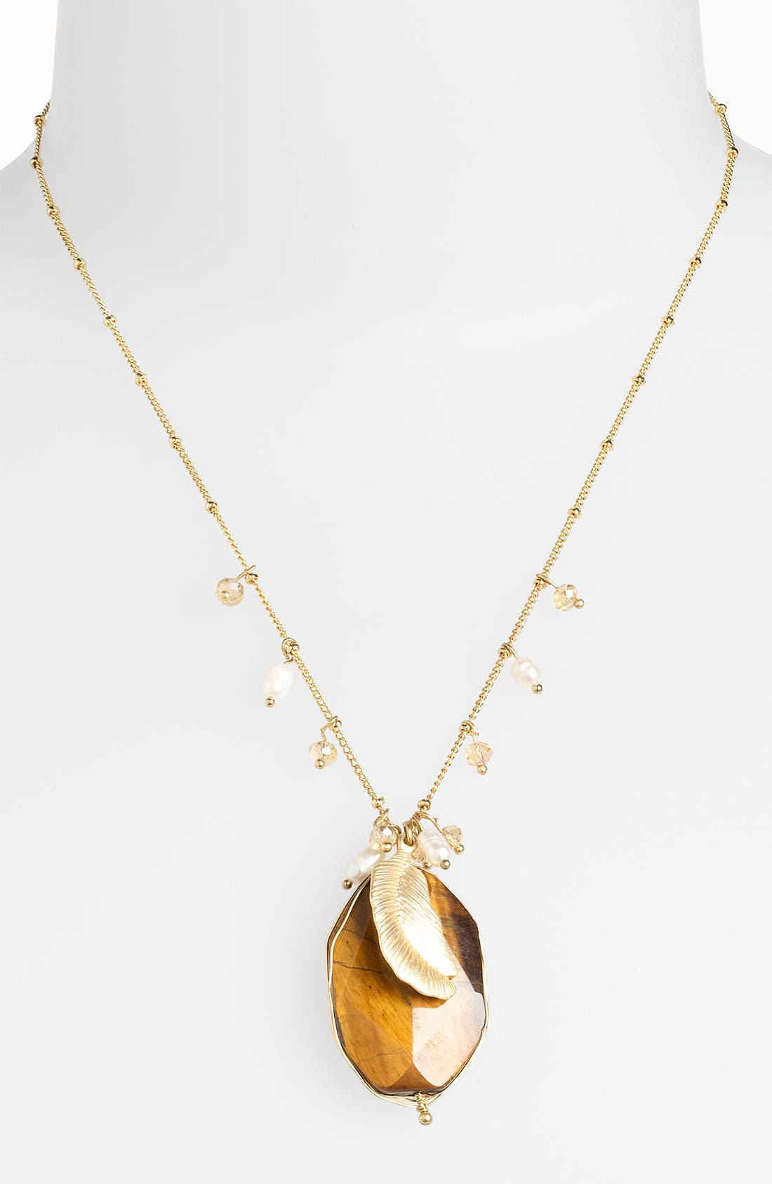 Alternate Image 1 Selected - Cara Accessories Semiprecious Oval Pendant Necklace