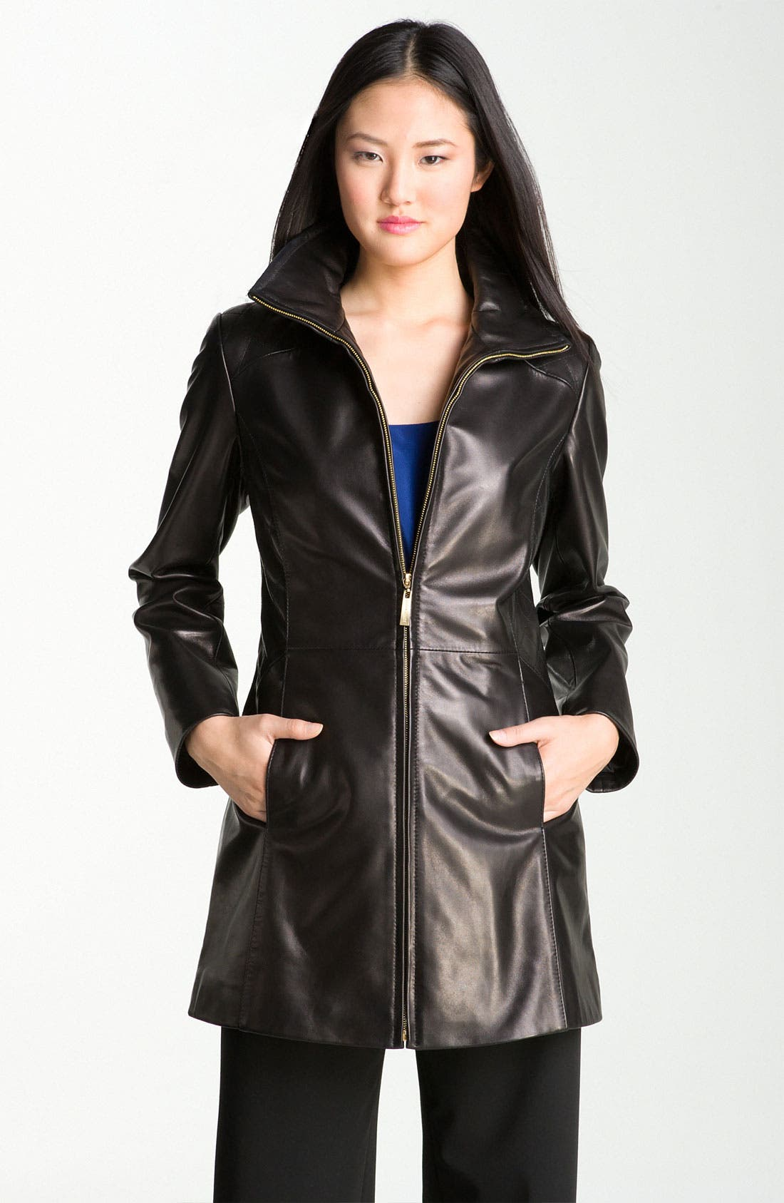 Alternate Image 1 Selected - Ellen Tracy Quilt Trim Lambskin Leather Topper (Nordstrom Exclusive)