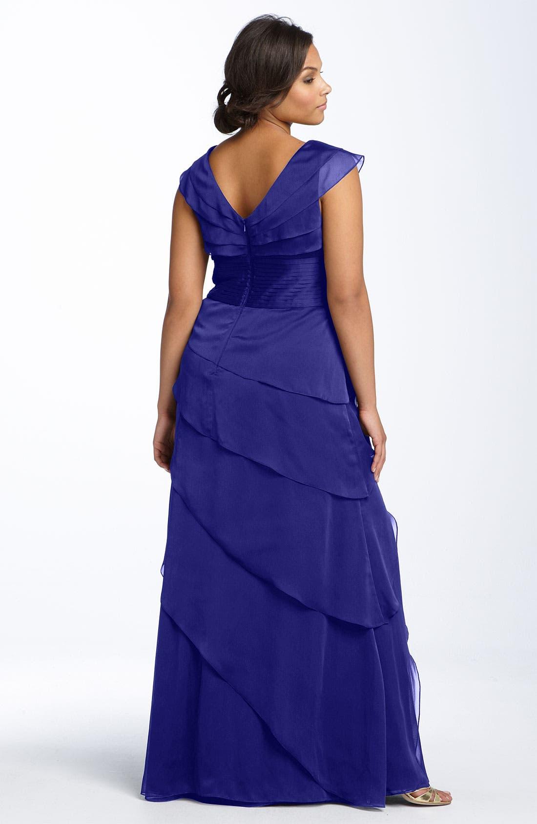 Alternate Image 2  - Adrianna Papell Iridescent Chiffon Petal Gown (Plus Size)