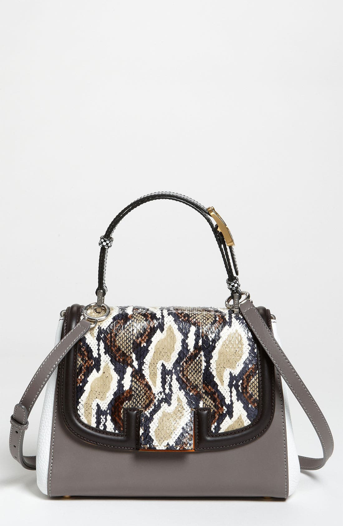 Main Image - Fendi 'Silvana Elaphe Fantasy' Leather & Genuine Snakeskin Satchel