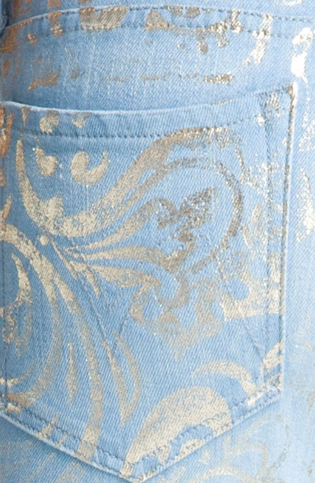 Alternate Image 3  - MOTHER 'The Looker' Metallic Print Skinny Jeans (Gold Rush)