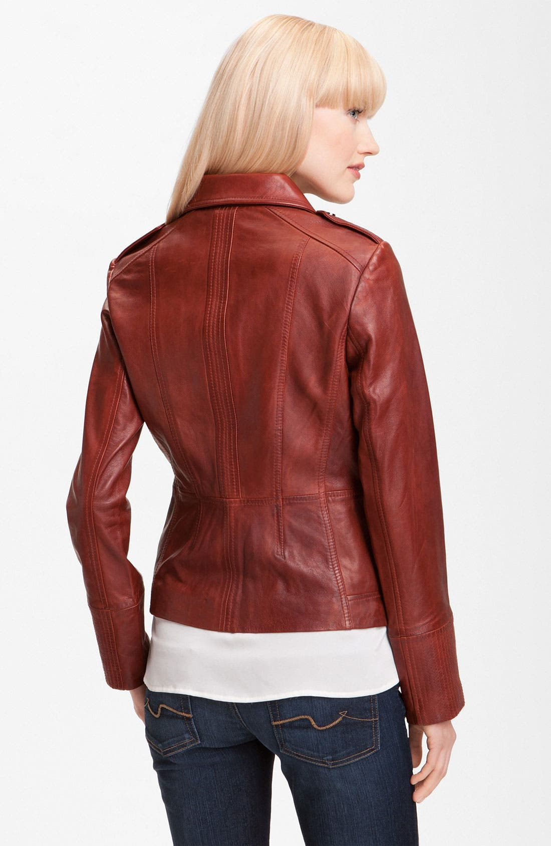 Alternate Image 2  - Bernardo Collared Leather Scuba Jacket