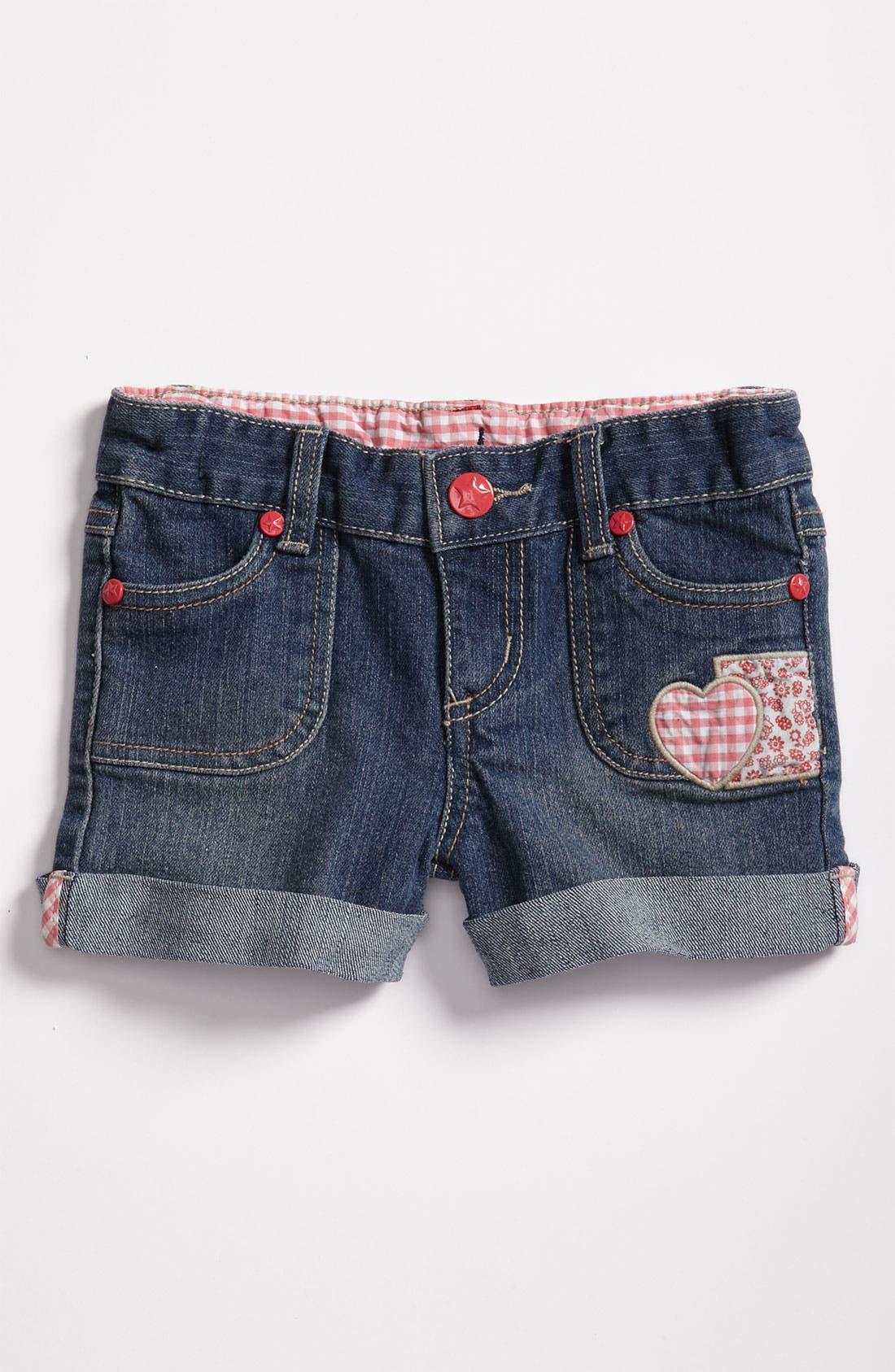 Alternate Image 2  - Pumpkin Patch Denim Shorts (Infant)