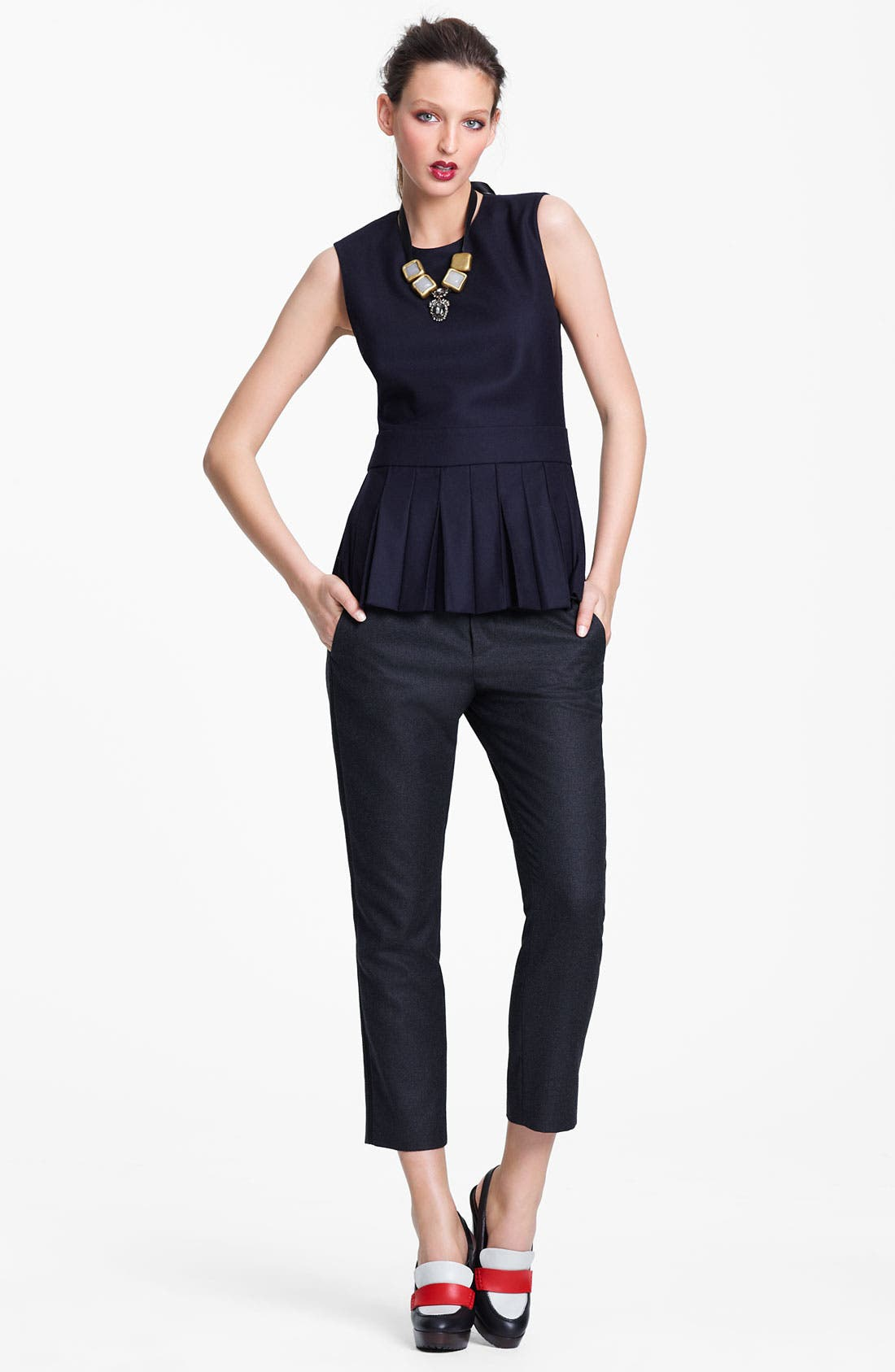 Alternate Image 6  - Marni Edition Crop Straight Leg Flannel Trousers