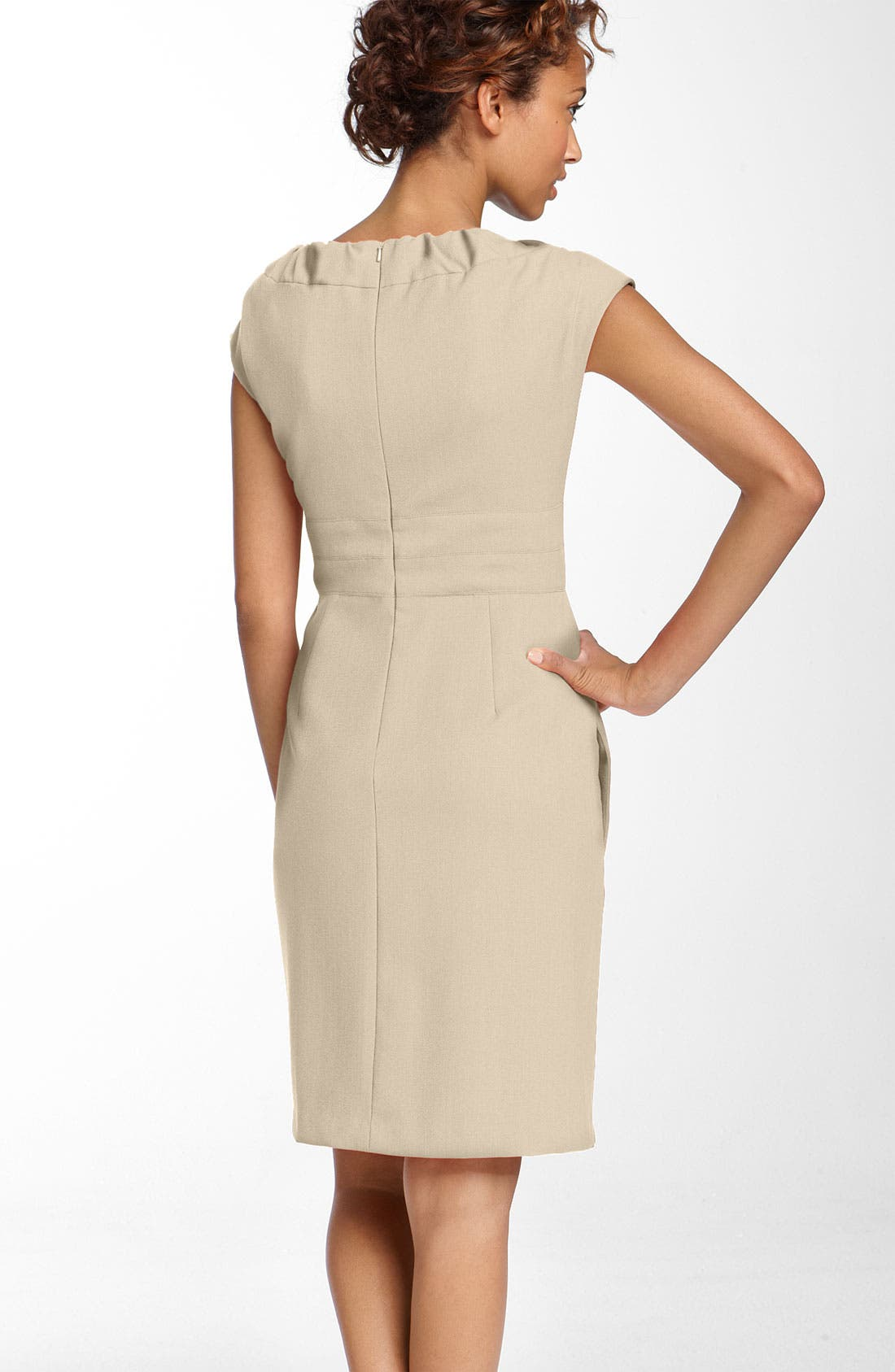 Alternate Image 2  - Donna Ricco Gathered Neckline Twill Dress