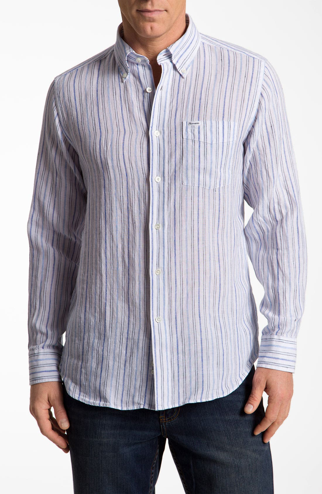Alternate Image 1 Selected - Façonnable Club Fit Linen Sport Shirt