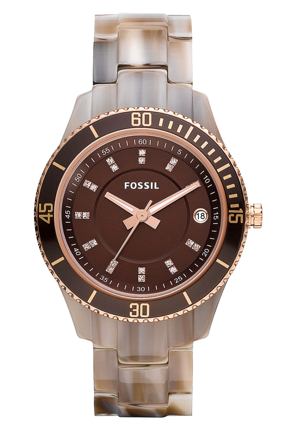 Alternate Image 1 Selected - Fossil 'Stella' Round Dial Bracelet Watch, 37mm