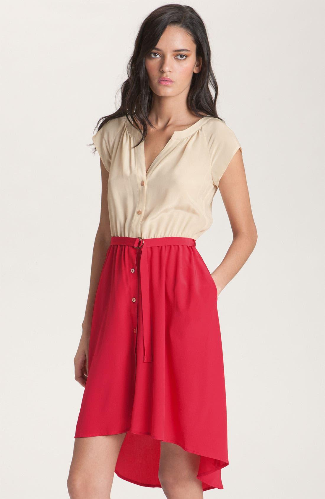 Main Image - Presley Skye Belted Colorblock Silk Dress