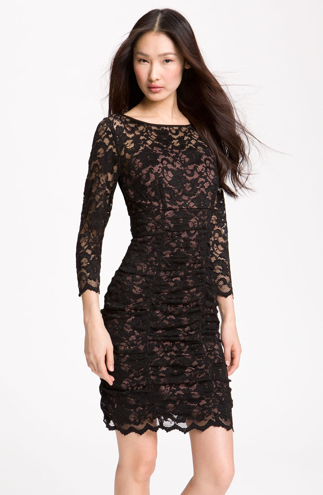 Main Image - Eliza J Ruched Lace Sheath Dress