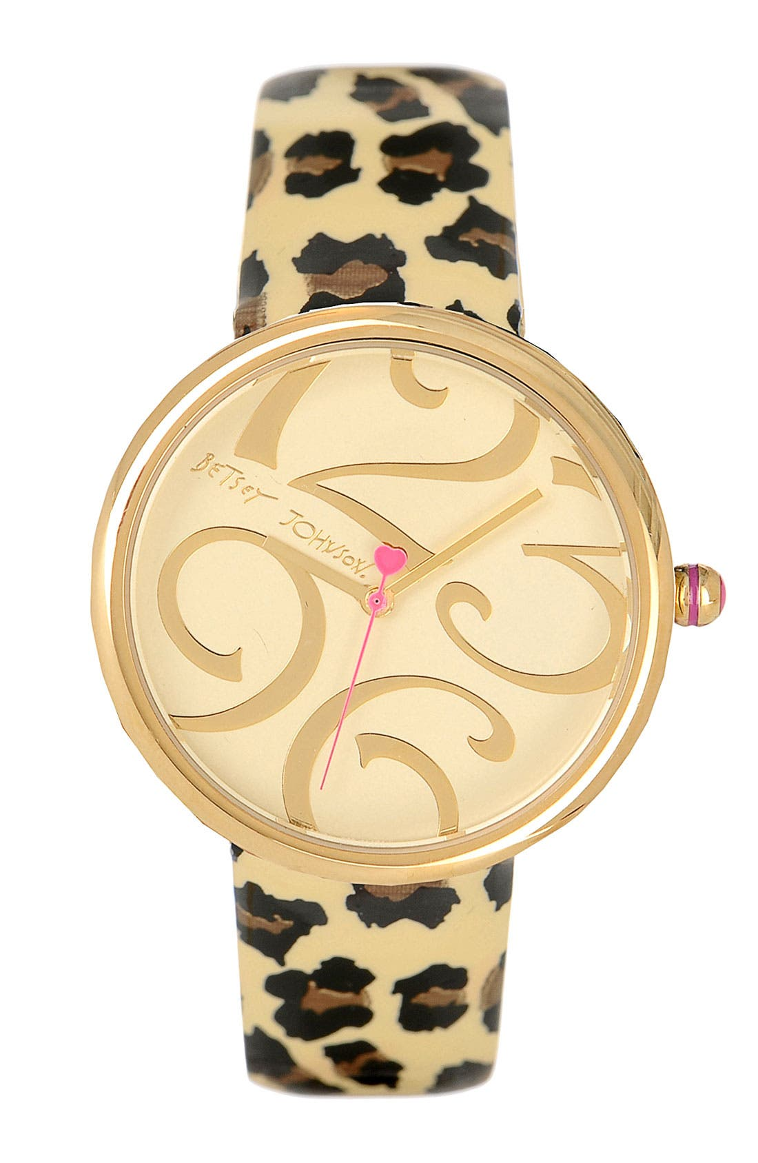 Main Image - Betsey Johnson Leopard Print Patent Leather Strap Watch, 41mm