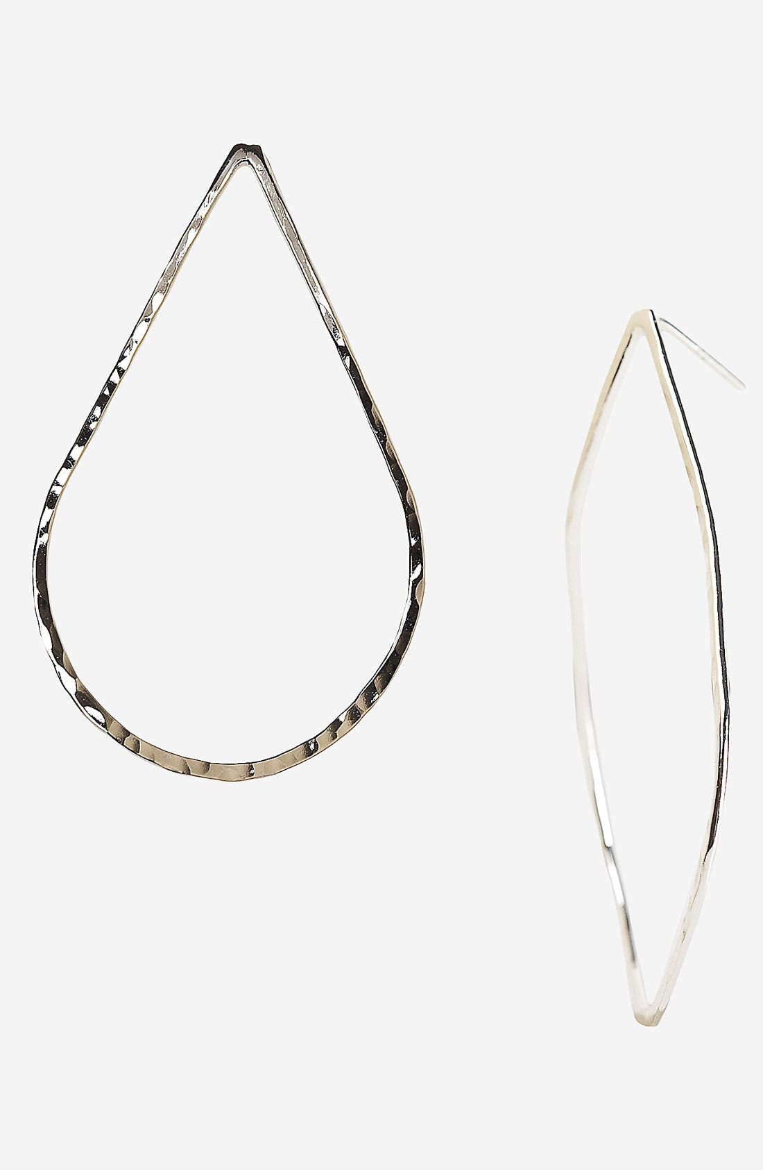 Main Image - Argento Vivo Hammered Teardrop Hoop Earrings