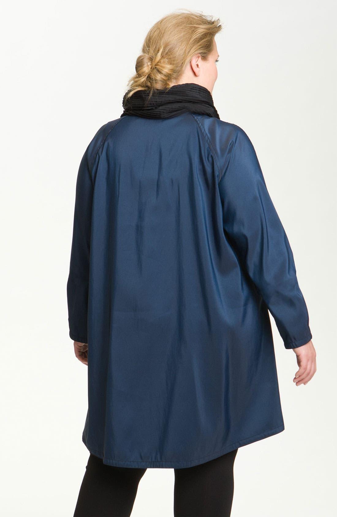 Alternate Image 2  - Mycra Pac Designer Wear Reversible Pleat Hood Packable Travel Coat (Plus Size)