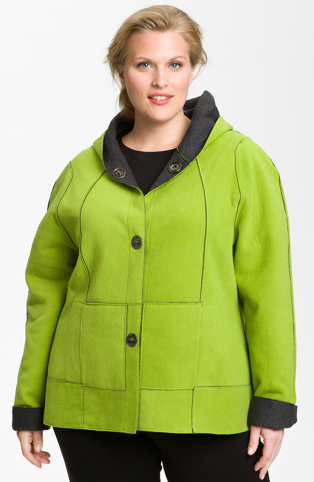 Alternate Image 2  - Kristen Blake Reversible Bonded Fleece Jacket (Plus)