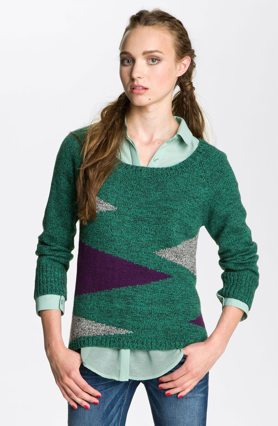 Alternate Image 1 Selected - Love By Design Geometric Sweater (Juniors)