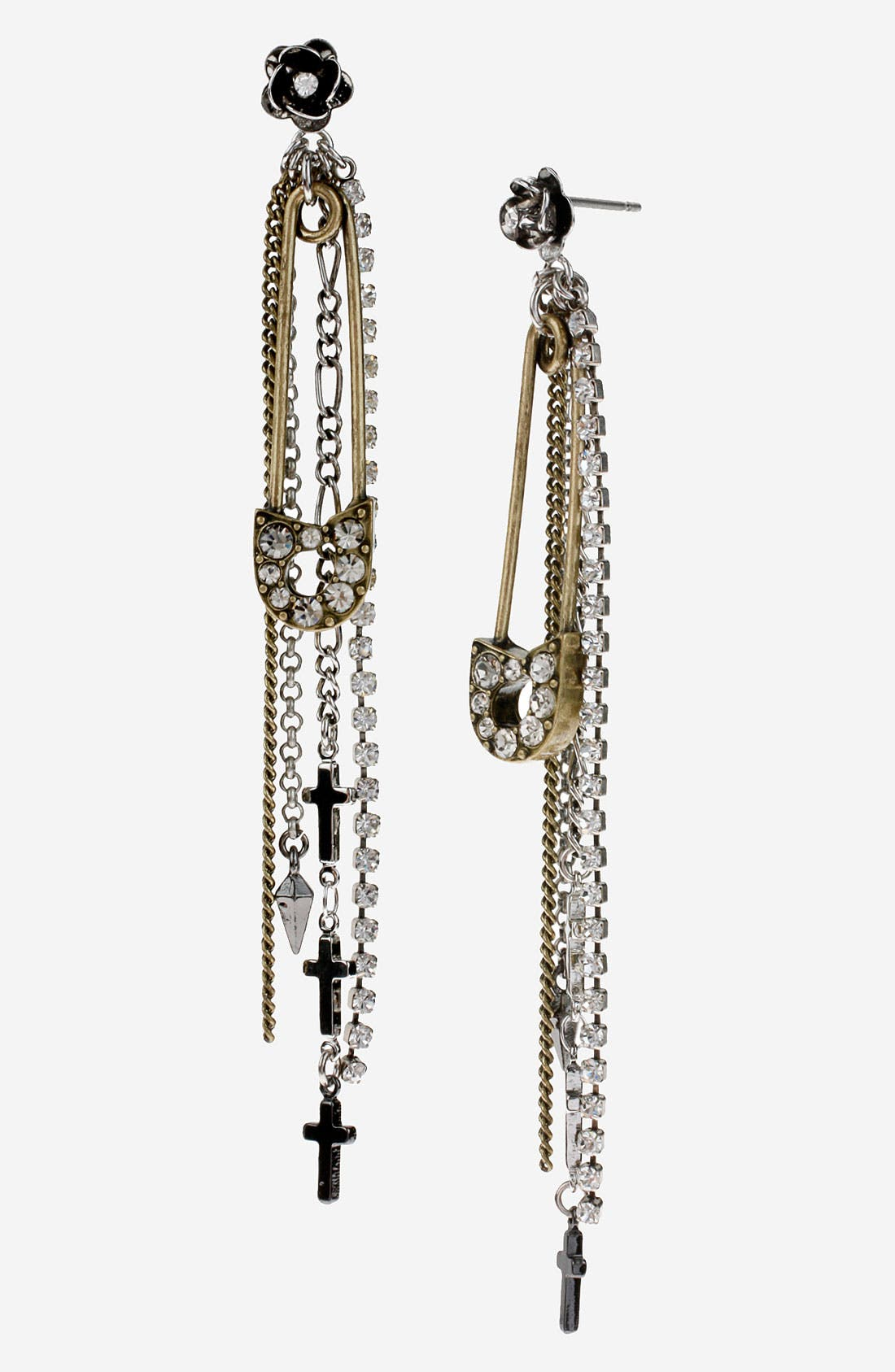Alternate Image 1 Selected - Betsey Johnson 'Black Label' Linear Safety Pin Earrings