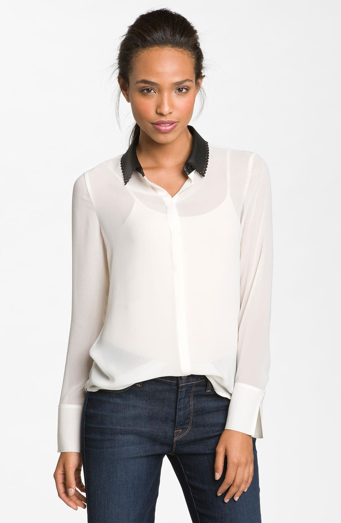 Alternate Image 1 Selected - Hinge® Faux Leather Collar Top