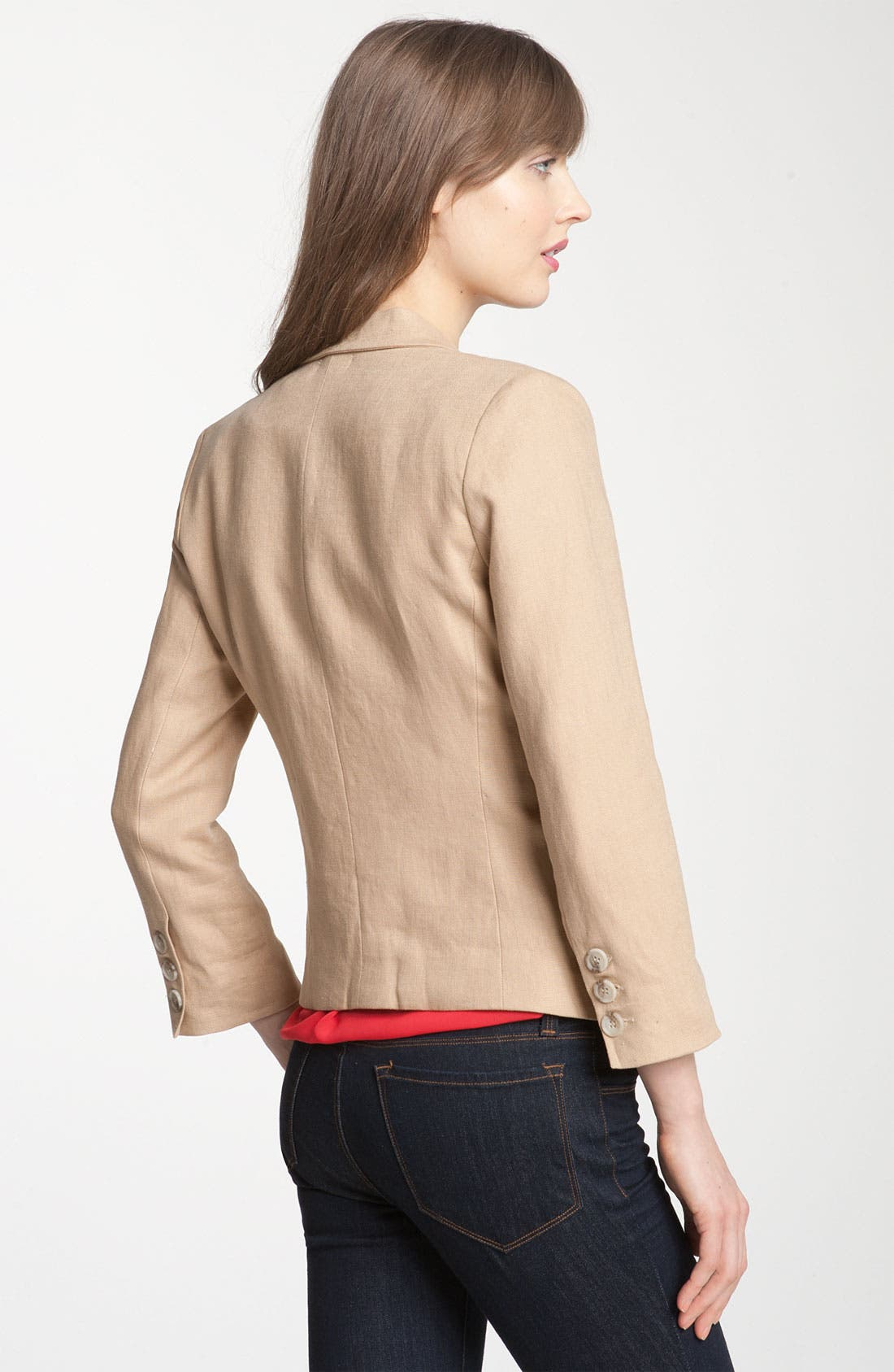 Alternate Image 2  - Gibson Linen One Button Blazer (Petite)