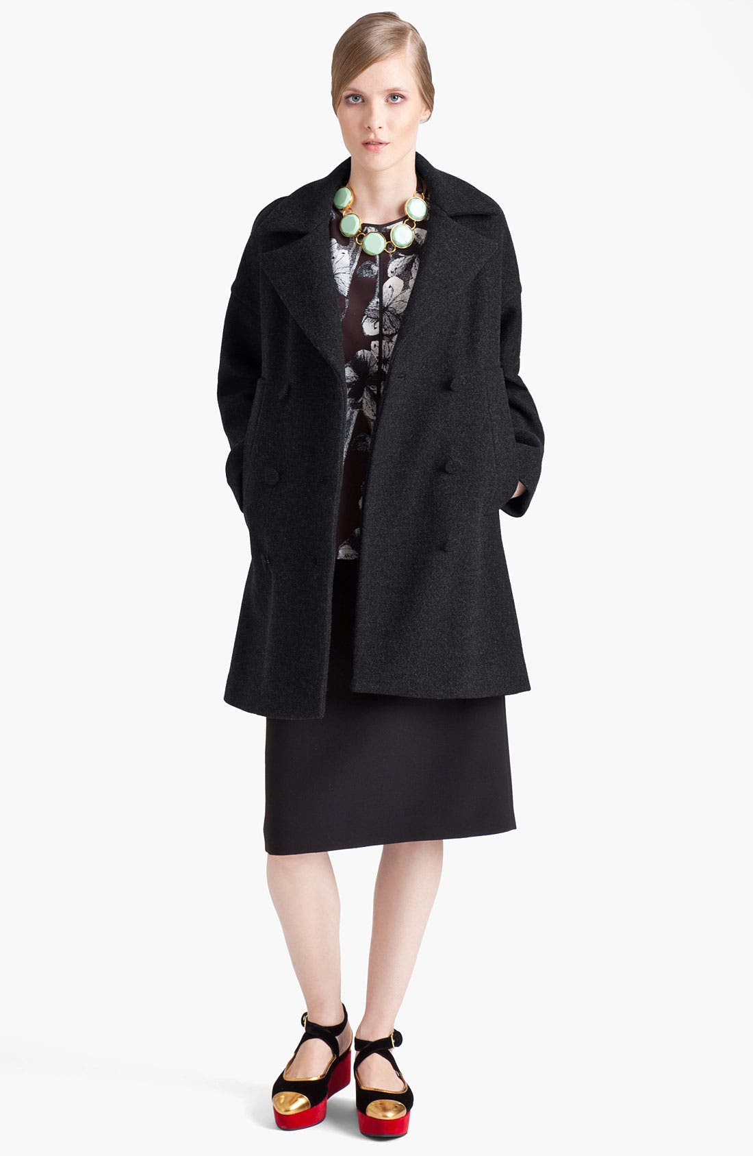 Main Image - Marni Double Breasted Wool Blend Coat