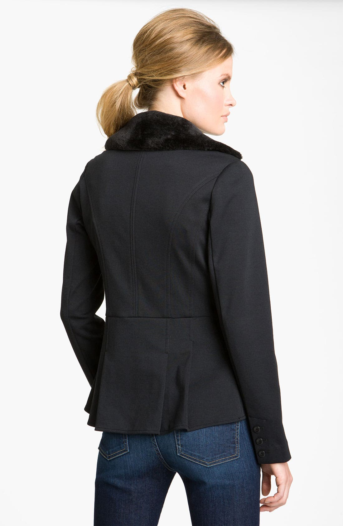 Alternate Image 2  - Hinge® Faux Fur Collar Peplum Jacket