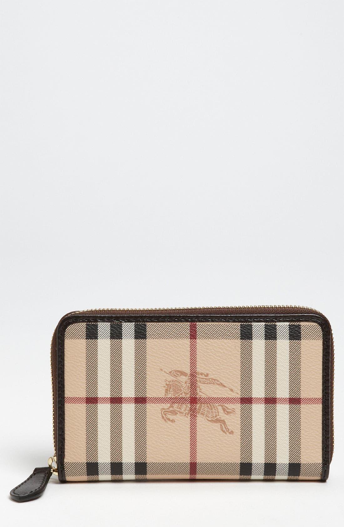 Main Image - Burberry 'Haymarket Check' Compact Zip Around Wallet