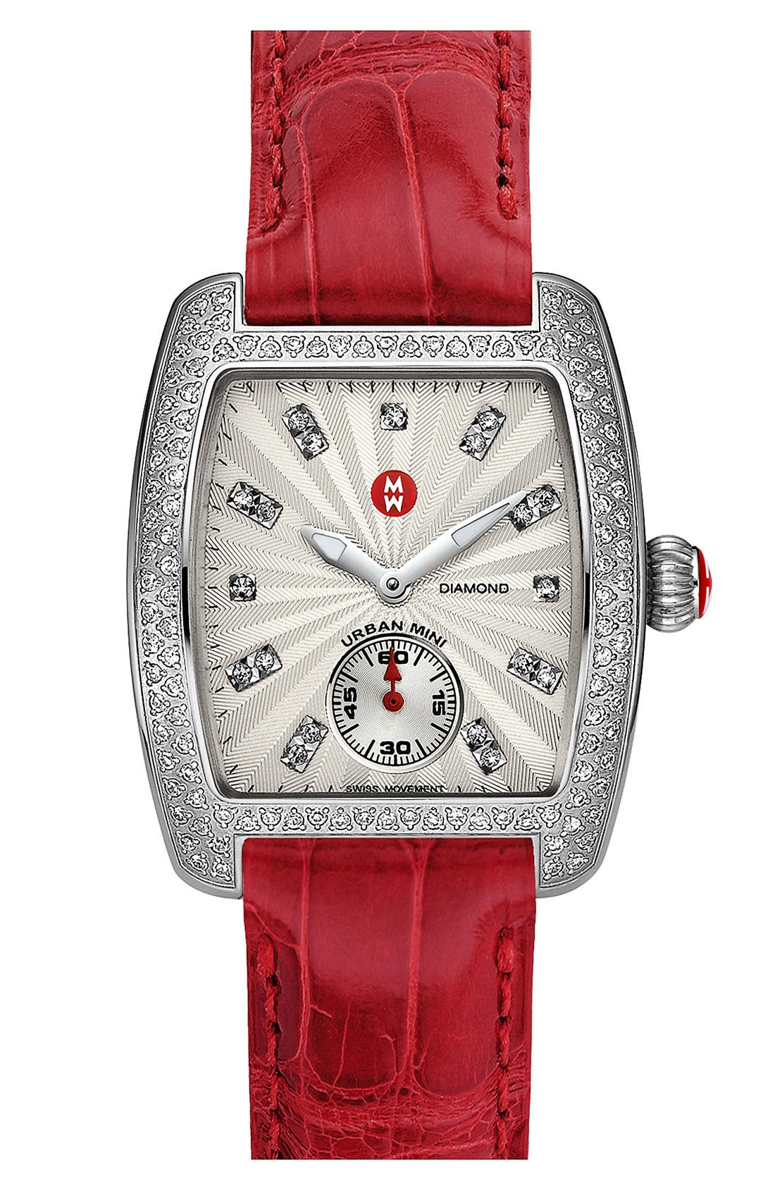 Alternate Image 2  - MICHELE 'Urban Mini Diamond' Diamond Dial Watch Case & 16mm Garnet Alligator Strap